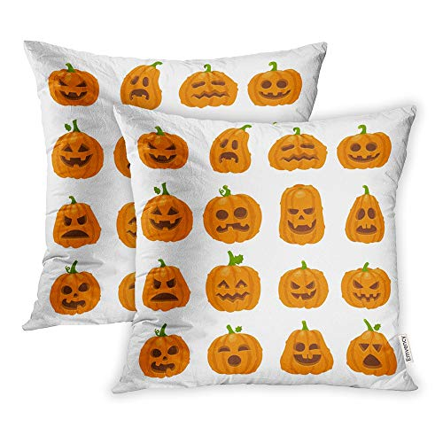 Emvency Set of 2 Throw Pillow Covers Print Polyester Zippered Cartoon Halloween Pumpkin Orange Carving Scary Smiling Cute Glowing Faces Gourd Pillowcase 20x20 Square Decor for Home Bed Couch Sofa -