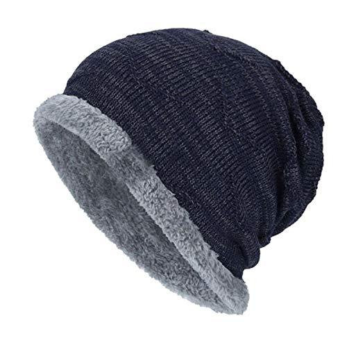 (Fashion Boys Men Winter Hat Knit Scarf Cap Warm Fur Hat Fleece dad Cap Wool Hat Knitting,Navy)