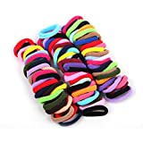 Janecrafts Cute 24-100pcs Girl Elastic Hair Ties Band Ponytail Holders Scrunchie Mixed Colors