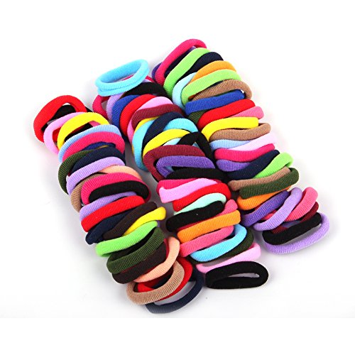 (Janecrafts Cute 24-100pcs Girl Elastic Hair Ties Band Ponytail Holders Scrunchie Mixed Colors)