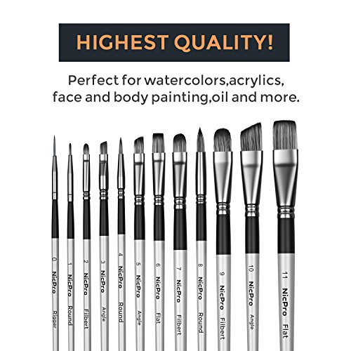 Nicpro 12 PCS Acrylic Paint Brushes Adult Art Paint Brush Set for Watercolor Oil Gouache Face Body Craft Miniatures Painting,Paintbrushes by Nicpro (Image #4)