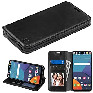 LG V30 Case, LG V30 Plus Case, BornTech PU Leather Fold stand Wallet pouch with ID Credit Card Slots Phone Case Cover (Black)