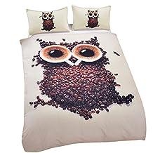 Sleepwish Direct Owl 3D Bedding Cute Cafe Printed 3D Home Textiles Fancy Comforter Set Queen Size