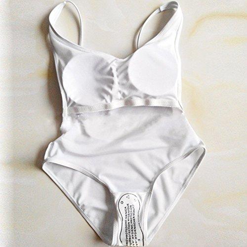 Xiangze la mujer mono sin respaldo alto una pieza traje de baño Blanco
