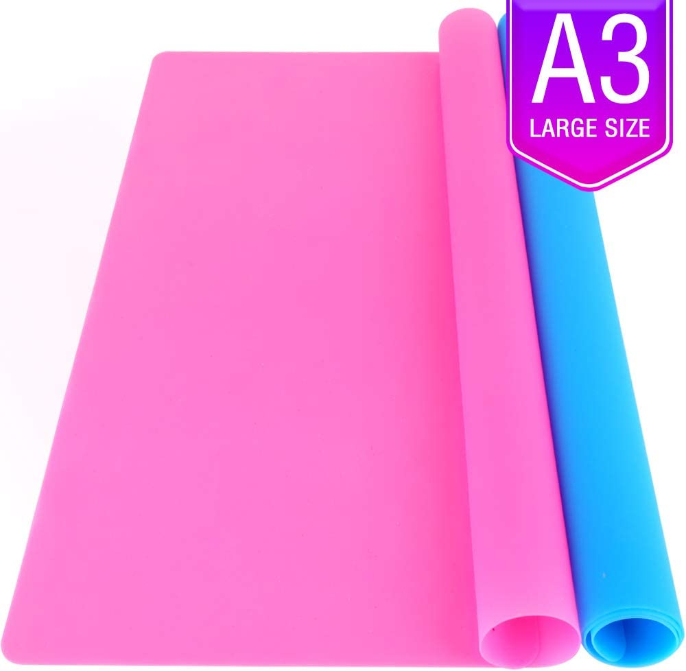 LEOBRO 2 Pack A3 Extra Large Silicone Sheet for Crafts Jewelry Casting Moulds Mat, Premium Silicone Placemat, Multipurpose Mat, Nonstick Nonskid Heat-Resistant, Blue & Rose Red (15.7 x 11.7 inches)