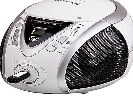 USB Radio Mp3 Bianco Trevi CMP 542 USB Stereo Portatile Boombox con Lettore CD