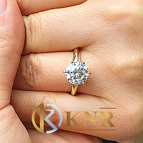 Women's Large Three Carat 14k Yellow Gold Round Simulated Diamond Engagement Ring, Bridal, Wedding, Anniversary, Prong Set, Solitaire Art Deco Engagement Ring Settings