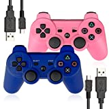 ElementDigital PS3 Controller Wireless PlayStation 3 Bluetooth Remote with Charger Cable 2 Pack (Blue+Pink)