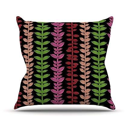 26 by 26 Kess InHouse Jane Smith Garden Vine and Leaf Rainbow Vines Throw Pillow