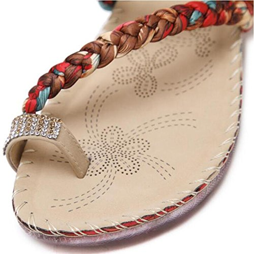 CN40 strass piatto Infradito sandalo 01 01 opzionali stile comfort Pantofole estivo etnico da dimensioni con 5 punta Amazing EU39 fiore Fondo misure fiore Colore Scarpe UK6 7YfSqwq
