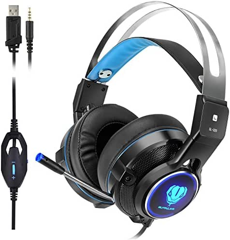 Elekele Gaming Headphones for PS4/Pro/Slim Nintendo Switch Xbox One/X/S PC Tablet Smartphone, 3.5mm Stereo Surround Lightweight Gaming Headset with with Mic and LED Light (Blue)