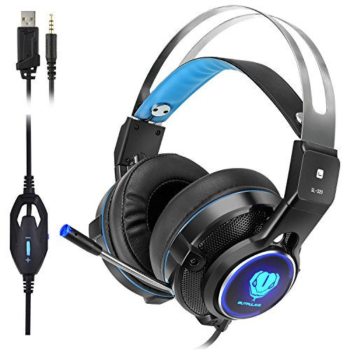 (Elekele Gaming Headphones for PS4/Pro/Slim Nintendo Switch Xbox One/X/S PC Tablet Smartphone, 3.5mm Stereo Surround Lightweight Gaming Headset with with Mic and LED Light (Blue) )