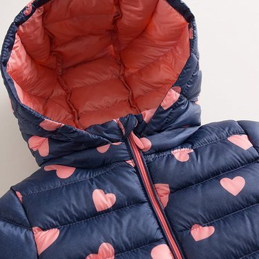 marc janie Baby Boys Girls Kids' Outerwear Ultra Light Down Jacket with Removable Hood 6T Blue Pink Love by marc janie (Image #2)