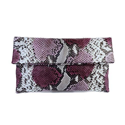 Genuine Purple Plum Motif Python Leather Classic Foldover Clutch Bag