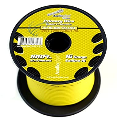Audiopipe 100' Feet 16 GA Gauge AWG Yellow Primary Remote Wire Car Power Cable