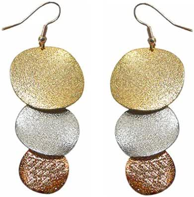 Dangle Earrings for Pierced Ears in Gold, Bronze, and Silver Tone AC89700-2