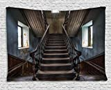 Ambesonne Scary Decor Tapestry by, Horror Movie Classic Deserted Abandoned Home with Old Vintage Stairs Artwork, Wall Hanging for Bedroom Living Room Dorm, 80WX60L Inches, Multicolor