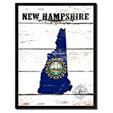 New Hampshire State Vintage Flag Canvas Print Black Picture Frame Gift Ideas Home Decor Wall Art Decoration Gift Ideas