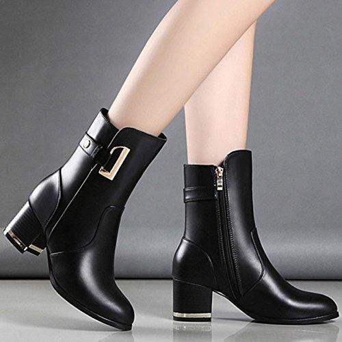 KHSKX Bottes Martin Nouvelle Tête Chaussures Bottes Les Documentaire De Bottes L'Hiver Bottes Avec black La Dans Femmes L'Automne Bottes Grosses Et De De wSrnwq1Z