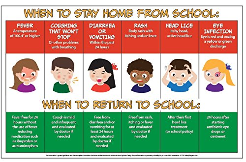 When Sick Kids Should Stay Home from School Poster - 12 in x 18 in Laminated … by Safety Magnets