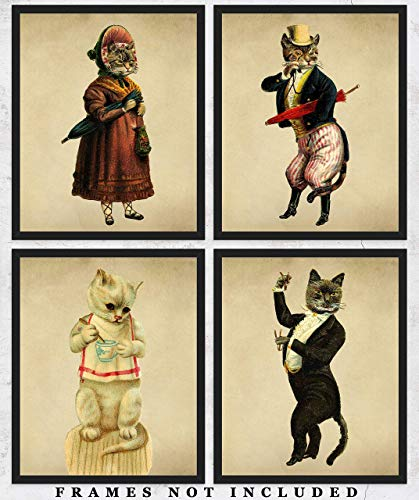 Vintage Victorian Cats Wall Art Prints: Unique Room Decor for Boys, Men, Girls & Women - Set of Four (8x10) Unframed Pictures - Great Gift Idea