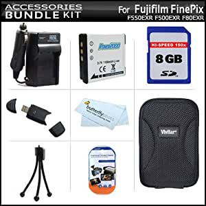 8GB Accessory Kit For Fujifilm FinePix F550EXR F660EXR F500EXR F80EXR F600EXR F505 XF1 Digital Camera Includes 8GB High Speed SD Memory Card + USB Reader + Replacement (1100Mah) NP-50 Battery + AC/DC Rapid Charger + Case + Screen Protectors + Mini Tripod