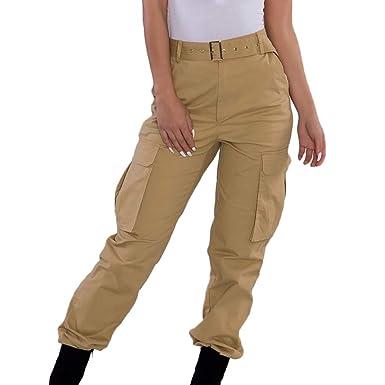 710ef0e1a62 Pantalones de harén Slim fit Talla Grande Pantalones Cargo Color SóLido  Mujer