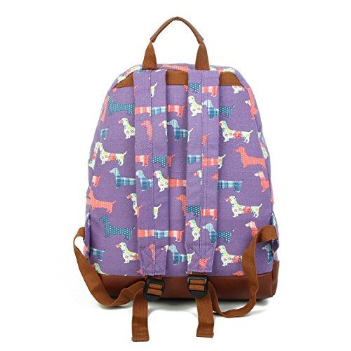 Dachshund Fashion Backpack Blue Sausage Rucksack Canvas Dog fwnPdPSXY