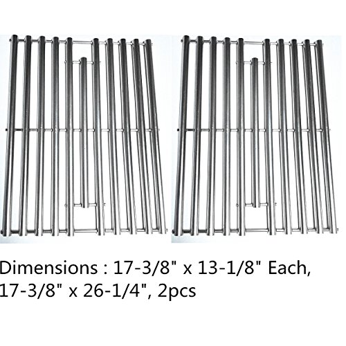 """Zljiont 2 Pack Stainless Steel Replacement Cooking Grid for Grill Master 720-0670E, 720-0670-E, Nexgrill 720-0670E, 720-0773, Uberhaus 780-0007A and Sterling 5020-54, 5020-64, 5023-64, 5023-67, 5120-64, 5123-67, 5123-84, 5123-87, Char-Broil 463446015, 466446015, C-45D, C-45G4CB, 463411712, 463411911, 463449914, Original Part Numbers: G465-0011-W1(17-3/8"""" x 13-1/8)"""