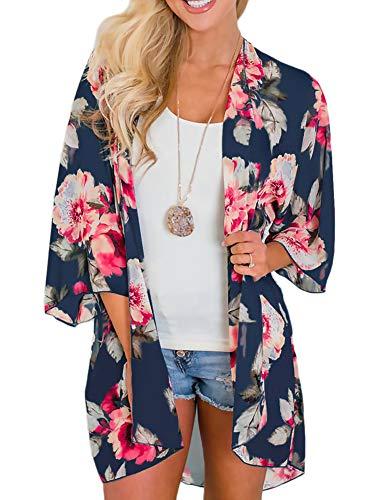 Womens Kimono Cardigans Floral Print Chiffon Beach Cover ups Loose Casual Tops Deep Blue