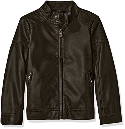 Urban Republic Boys' Toddler Biker Jacket with Quilted Shoulder, Dark Charcoal, 3T -