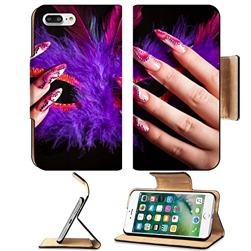 Liili Premium Apple iPhone 7 Plus Flip Pu Leather Wallet Case iPhone7 Plus Human fingers with long fingernail and beautiful manicure holding venetian mask Photo 5821287 Simple Snap (Simple Venetian Masks)