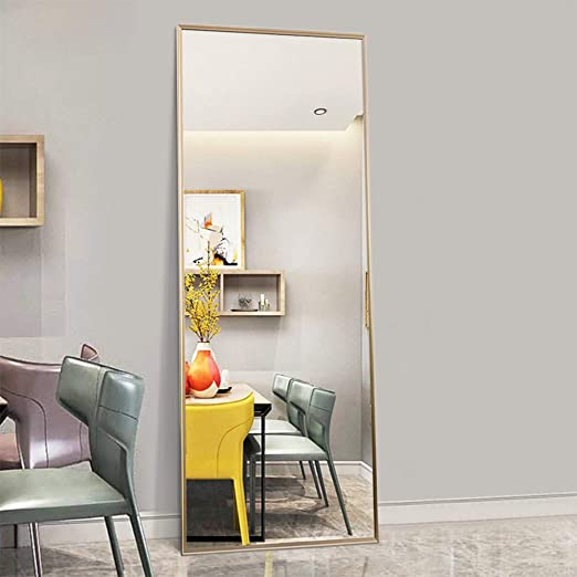 Amazon Com Trvone Full Length Mirror Floor Mirror Large Rectangle Bedroom Mirror Dressing Mirror Wall Mounted Mirror Standing Hanging Or Leaning Against Wall 65 X22 Gold Furniture Decor