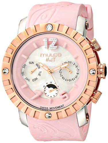 Mulco Ladies Nuit Lace XL Swiss Quartz Multifunctional Movement Women's Watch, 42mm Case With Mother of Pearl and Rose Gold Accents, Pink Silicone Band ()