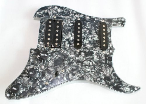 Surfing Black Pearl Loaded Prewired Pickguard SSH Pickup Guard Plate for Strat Electric Guitar