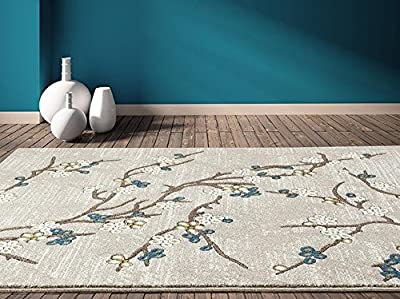 6055 Branches Beige Area Rug Modern Carpet Large New