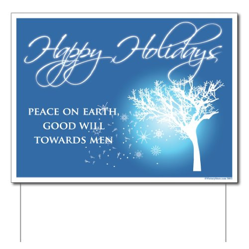 VictoryStore Yard Sign Outdoor Lawn Decorations: Happy Holidays Lawn Sign (Peace on Earth Good Will Towards Men) Set of 6 12 EZ Stakes