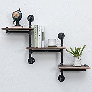 MBQQ Industrial Bookshelf Pipe Shelves 3 Tiers,Rustic Wood Shelf Wall Mounted,Metal Corner Hung Bracket Shelving Floating Shelves Steampunk Decor