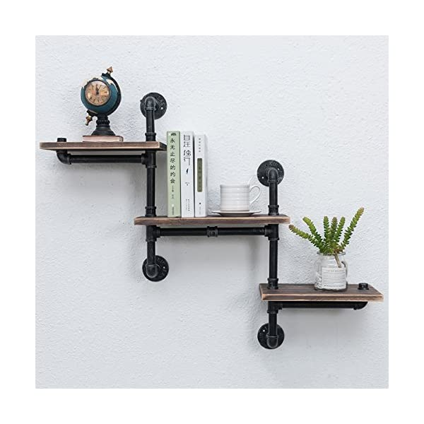 Industrial Bookshelf Pipe Shelves 3 Tiers,Rustic Wood Shelf Wall Mounted,Metal Corner Hung Bracket Shelving Floating… 3