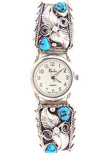 Turquoise Silver Watch Bracelet - Rich Peel Made in USA by Navajo Artist Darrel Morgan Men's Turquoise Watch Bracelet