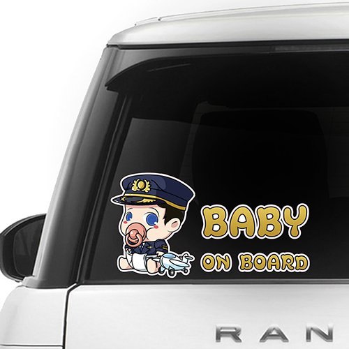 [CUSTOMI] Pilot Baby on Board ENG-PILOT-001 - Full Color Car Window Safety Sign Decal Sticker - Gold, Navy