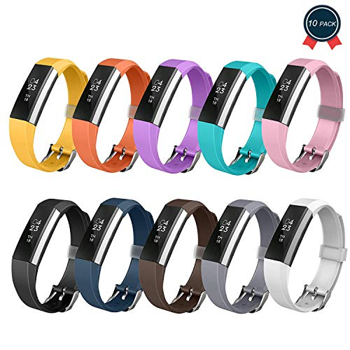 GreenInsync Compatible Fitbit Alta Bands, Watch Buckle Design Replacement for Fitbit Alta HR Wristbands Accessory Bands Large Small for Fitbit Alta, Alta HR/Fitbit Ace Men Women Boys Girls,10pack