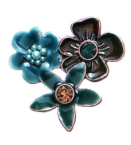 PILGRIM 320-505 Brosche, Kupfer, braun+blau