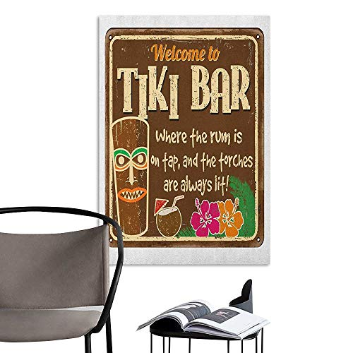 Jaydevn Stickers Wall Murals Decals Removable Tiki Bar Aged Old Frame Sign of Tiki Bar with Inspirational Quote Leisure Travel Print Multicolor Large Removable Decals W20 x H28 (Bar Riverdale)