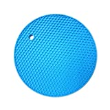 TIAMALL Silicone Pot Holder Trivet Mat Baking Gadget Kitchen Table Mat Waterproof Heat Insulation Non-Slip Trivet Tableware Pad Coasters(Sky Blue)[Set of 2]
