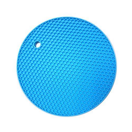 TIAMALL Silicone Pot Holder Trivet Mat Baking Gadget Kitchen Table Mat Waterproof Heat Insulation Non-Slip Trivet Tableware Pad Coasters(Sky Blue)[Set of 2]