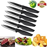 Steak knives set of 6, DSNN Ceramic Knife Steak Sharp Knives Black Blade Knife Best Gift Fantastic