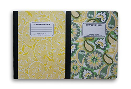 Yellow Patterned Wide Ruled 100 Sheets Composition Notebooks - (Pack of 2) by JOT
