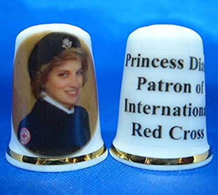 Princess Diana Patron of Red Cross Box Birchcroft Porcelain China Collectable Thimble