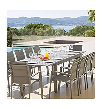 Hespéride Table extensible aluminium Azua 12 personnes gris ardoise ...